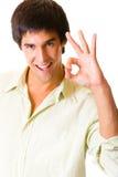 göra en gest lycklig joyful man arkivfoto