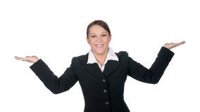 göra en gest skratta för affärskvinna arkivbild