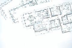 Göra en skiss av golvplan, den tekniska teckningen, konstruktionsbackgroun Arkivfoto