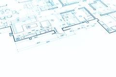 Göra en skiss av golvplanet, den tekniska teckningen, konstruktionsbakgrund arkivbild