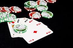göra ett ess på poker Royaltyfri Bild