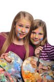 göra framsidan målar flickor barn Royaltyfri Foto