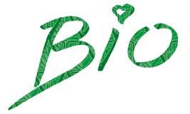 Göra grön ett handskrivet tecken med Bio passande för text för logo som isoleras på vit bakgrund Royaltyfria Foton