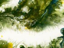 Göra grön, gulna den idérika abstrakta handen målad bakgrund Royaltyfri Fotografi