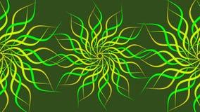 Göra grön & gulna den roterande mönstrade färgrika spiralen, abstrakt begreppvågbakgrund stock illustrationer