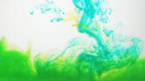Göra grön och gulna akrylmålarfärg som virvlar runt i vatten på vit bakgrund Färgpulverinflyttningvatten som skapar abstrakt begr arkivfilmer
