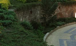 Göra grön parkerar och vaggar väggen Royaltyfri Bild