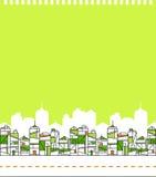 Göra grön stadshorisontillustrationen Arkivbild