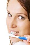 göra henne ren tandkvinna Royaltyfri Bild