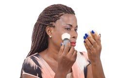 göra makeupkvinnabarn Royaltyfria Foton
