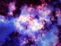 Göra mellanslag bakgrund med den färgrika purpurfärgade nebulosan och stjärnor Royaltyfri Illustrationer