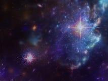 Göra mellanslag bakgrund med nebulosan och galaxer och stjärnor Arkivbild