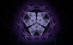 Göra mellanslag emblemet av lila och violetblommor i formen av en cirkel med en triangel inom på en svart bakgrund Fotografering för Bildbyråer