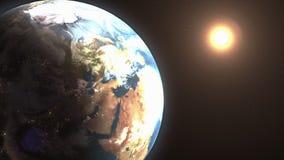 Göra mellanslag landskapet av solresningen bak jorden stock illustrationer