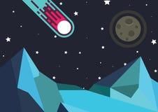 Göra mellanslag månen och en meteor Arkivbild