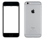 Göra mellanslag sikten för modellen för den Gray Apple iPhonen 6s den främre och den tillbaka sidan Royaltyfria Bilder