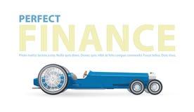 Göra perfekt finansillustrationen med den blåa retro långa bilen för notabiliteter Arkivfoto