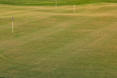 Göra perfekt krabb jordning med grönt gräs på ett golffält Royaltyfria Bilder