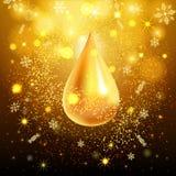 göra sammandrag bakgrundsguld Guld- droppe av mousserande paljetter Planlägg mallinbjudan, ferie, nytt år innegrej Royaltyfri Foto