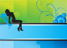 göra sammandrag den attraktiva bakgrundssilhouettekvinnan Stock Illustrationer