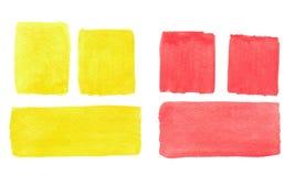 Göra sammandrag hand-dragen verklig röd och gul bakgrund för vattenfärgen Royaltyfri Foto