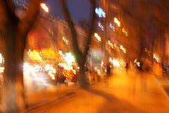 göra sammandrag stadslampanatten arkivfoto