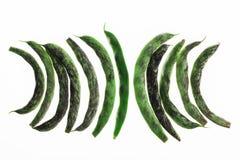 Göra sammandrag texturerad bakgrund, Backlit av franska haricot vert på vit Royaltyfri Fotografi