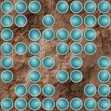Göra sammandrag texturerad bakgrund med turkos spridda runda beståndsdelar Fotografering för Bildbyråer