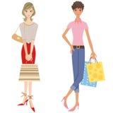 göra shoppingkvinnor Arkivfoto