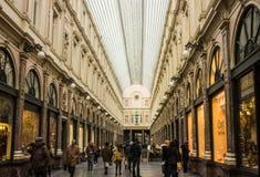Göra till drottning Gallerys (Galeries de La Reine), Bryssel, Belgien Arkivbilder