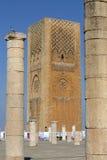 Göra till kung det Hassan tornet Marocko Arkivbilder