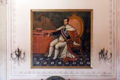 Göra till kung ståenden för Dom Jo ão VI i den Mafra medborgareslotten Royaltyfri Fotografi