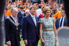Göra till kung Willem-Alexander och ¡ ximaen för drottningen MÃ av Nederländerna, dagen 2014, Amstelveen, Nederländerna för konun Arkivfoto