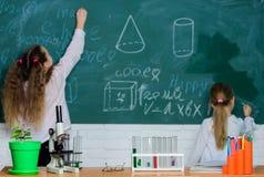 Göra vetenskapsforskning med laboratoriumutrustning Skolbarn i vetenskapsklassrum Kurs av naturvetenskap royaltyfria foton
