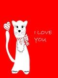 göra vit kattvykortpussy Arkivbild