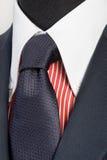 görad randig dräkttie för blå red skjorta Arkivbild