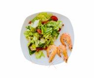 görar grön enkla tomater för den sunda blandade räkasalladräkan Fotografering för Bildbyråer