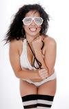 görar randig nätt strumpor för bikinikvinnlig white Fotografering för Bildbyråer