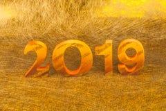 2019 göras i guld- färgställe i guld- bakgrund fotografering för bildbyråer