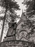 Görlitz, monochrome image of Luther church and statue of Luther.  royalty free stock photography