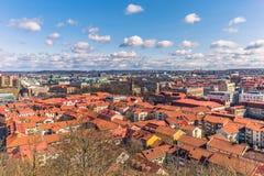 Göteborg Sverige - April 14, 2017: Panorama av den gamla staden av Arkivfoto