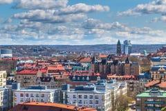 Göteborg Sverige - April 14, 2017: Panorama av den gamla staden av Arkivfoton