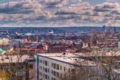 Göteborg Sverige - April 14, 2017: Panorama av Göteborg från Royaltyfri Fotografi