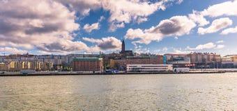 Göteborg Sverige - April 14, 2017: Panorama av kusten av Go Arkivfoto