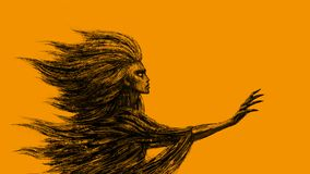 Göttin des Winds Orange Hintergrund stockbilder