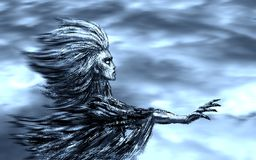 Göttin des Winds Schöne Fee sitzt auf einem Pilz mit Basisrecheneinheiten ganz um sie stockfotografie