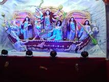 Göttin-Durga Come To-Erde durch Boot Lizenzfreie Stockfotografie