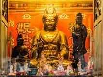 Göttin-goldene Statue Guan Yins (Kwan Yin) Lizenzfreie Stockfotos