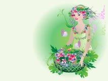Göttliche Flora mit einem Korb der frischen Blumen Stockbilder