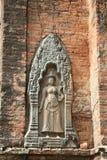 Göttliche Skulptur auf Wand des alten Tempels Lizenzfreies Stockbild
